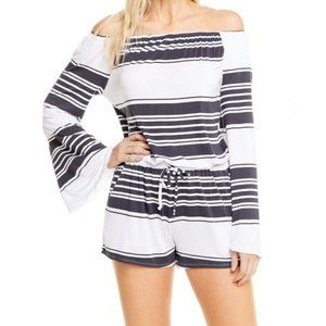 Chaser Striped Off the Shoulder Bell Sleeve Romper